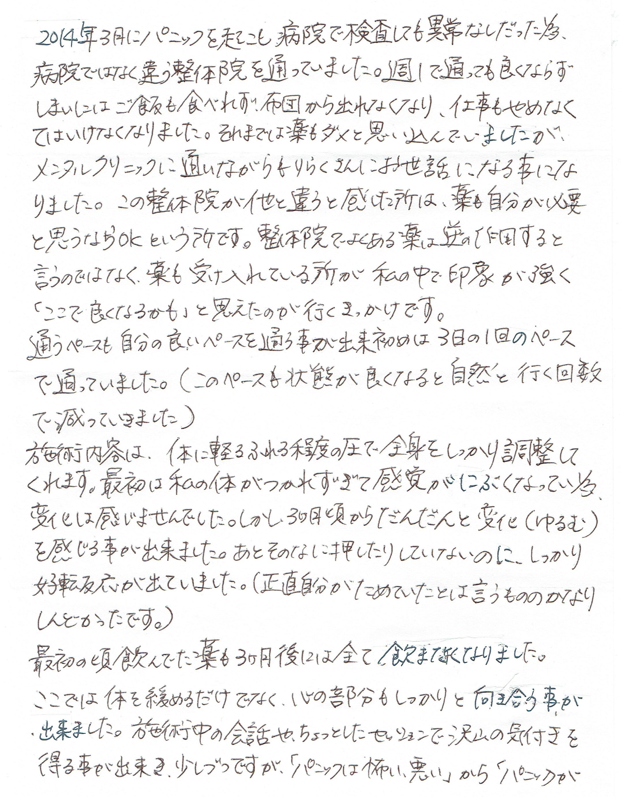 生駒市東生駒の整体・理楽ウェーブで堀江整体の口コミ95